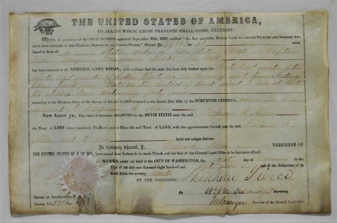 President Franklin Pierce Land Deed Document