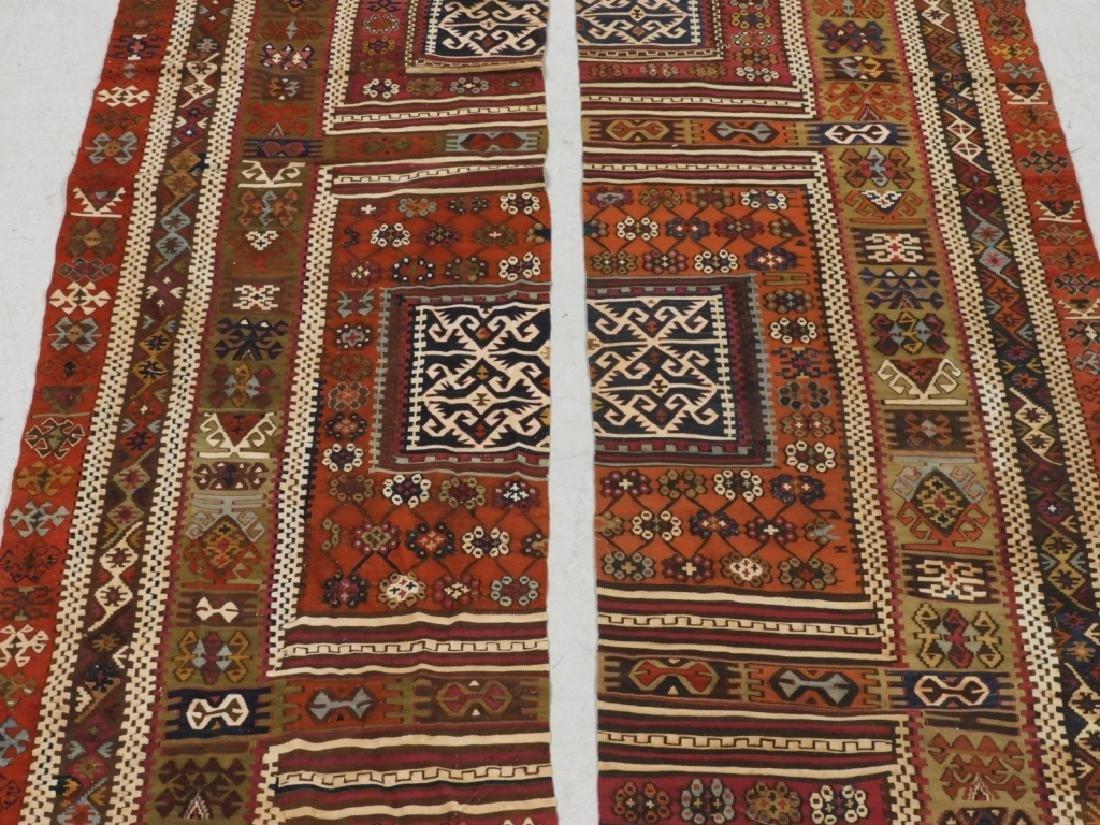 PR Afghan Kilim Wool Flat Weave Panel Rugs - 2