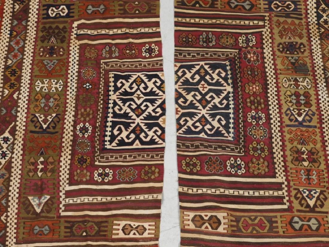 PR Afghan Kilim Wool Flat Weave Panel Rugs - 3