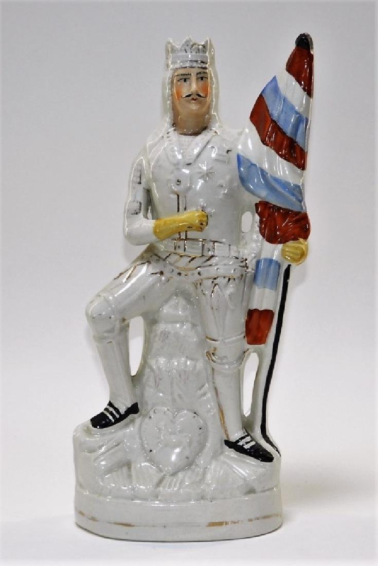 Staffordshire Pottery Figure Group of a Knight