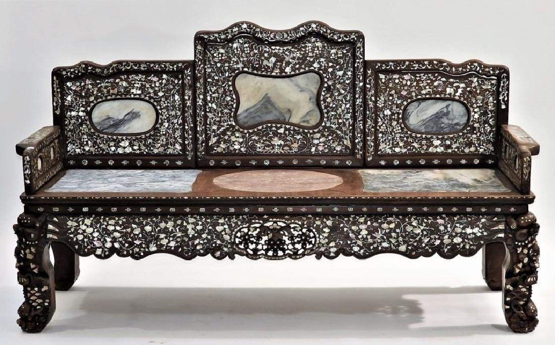 FINE Chinese Rosewood Mother of Pearl Inlaid Bench