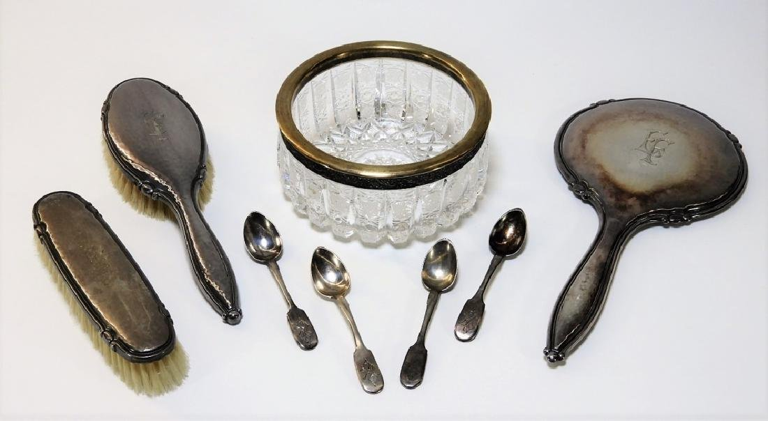 Russian Silver Spoon Vanity & Glass Bowl Group