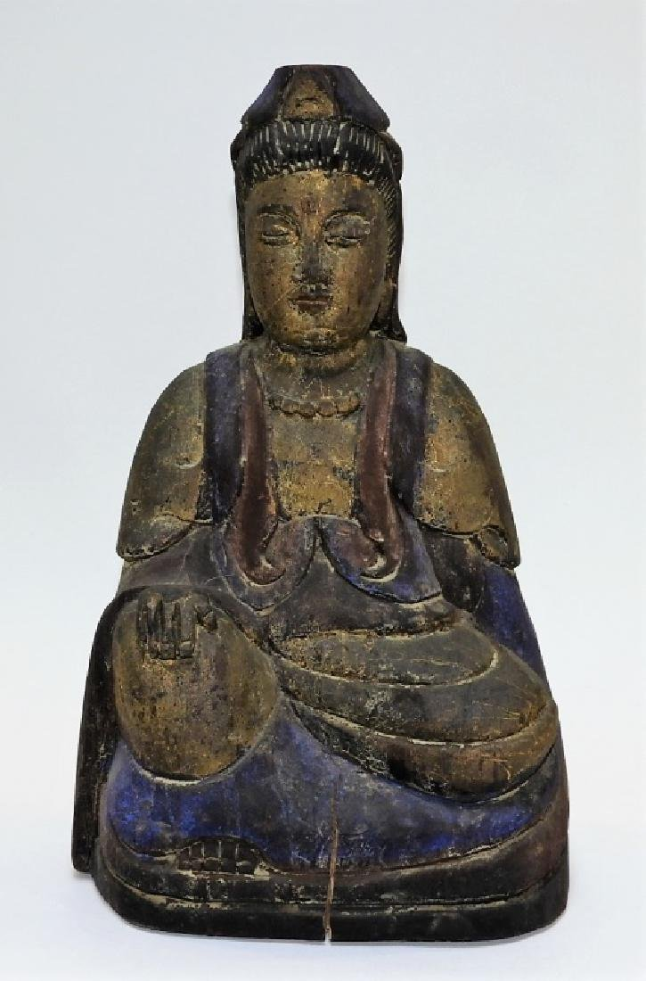Chinese Carved Polychrome Wood Seated Buddha