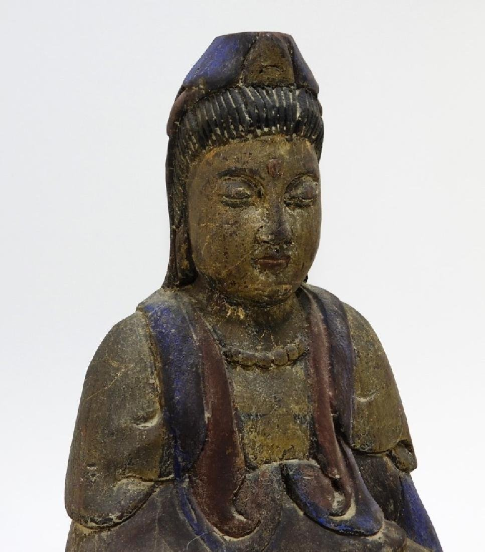 Chinese Carved Polychrome Wood Seated Buddha - 2