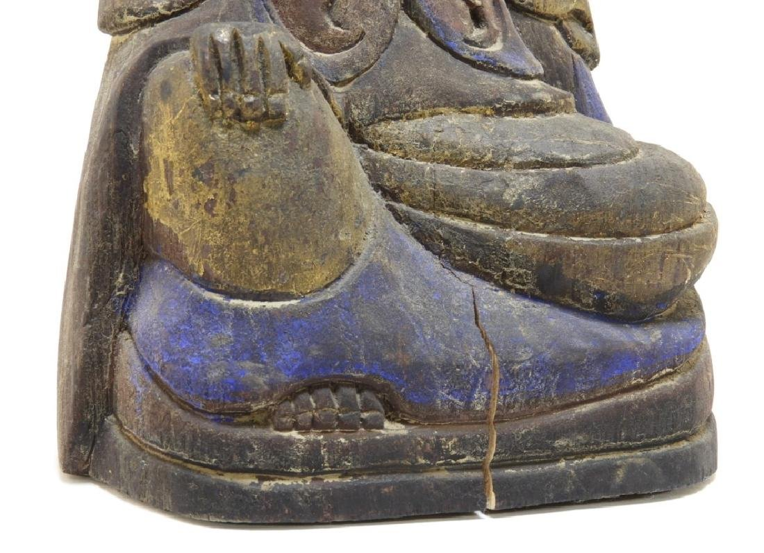 Chinese Carved Polychrome Wood Seated Buddha - 4