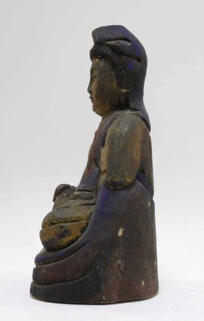Chinese Carved Polychrome Wood Seated Buddha - 5