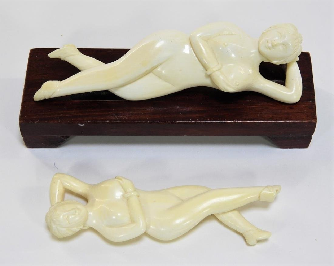 2 Chinese Carved Ivory Small Doctors Models