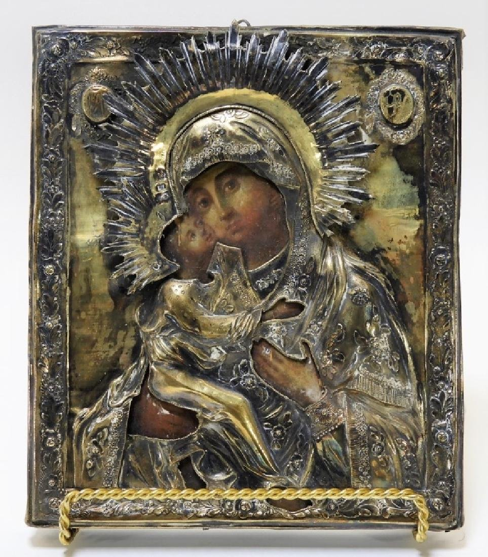 19C Russian Silver Riza Icon of the Kazan Mother
