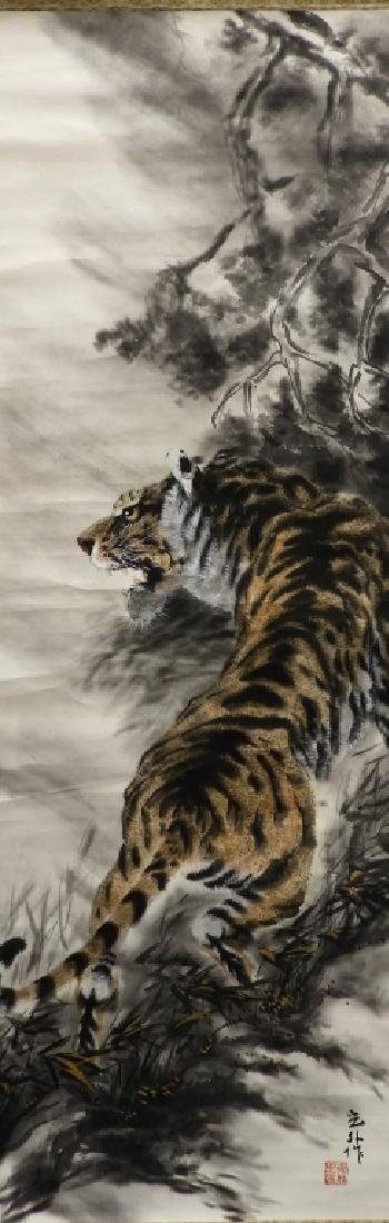 Japanese Tiger in Landscape Paper Scroll Painting