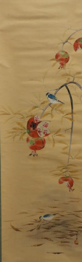 Japanese Avian Pomegranate Silk Scroll Painting