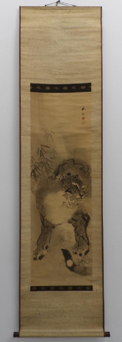 Japanese Edo Period Silk Tiger Scroll Painting - 2