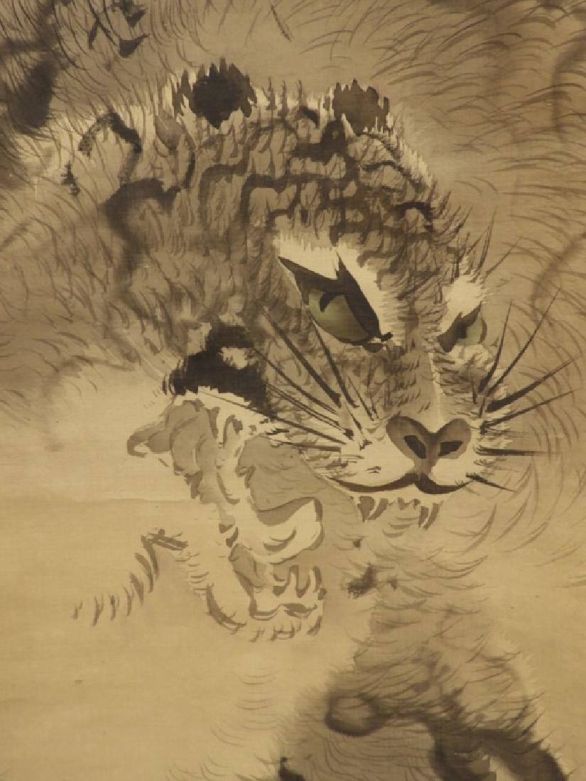 Japanese Edo Period Silk Tiger Scroll Painting - 4