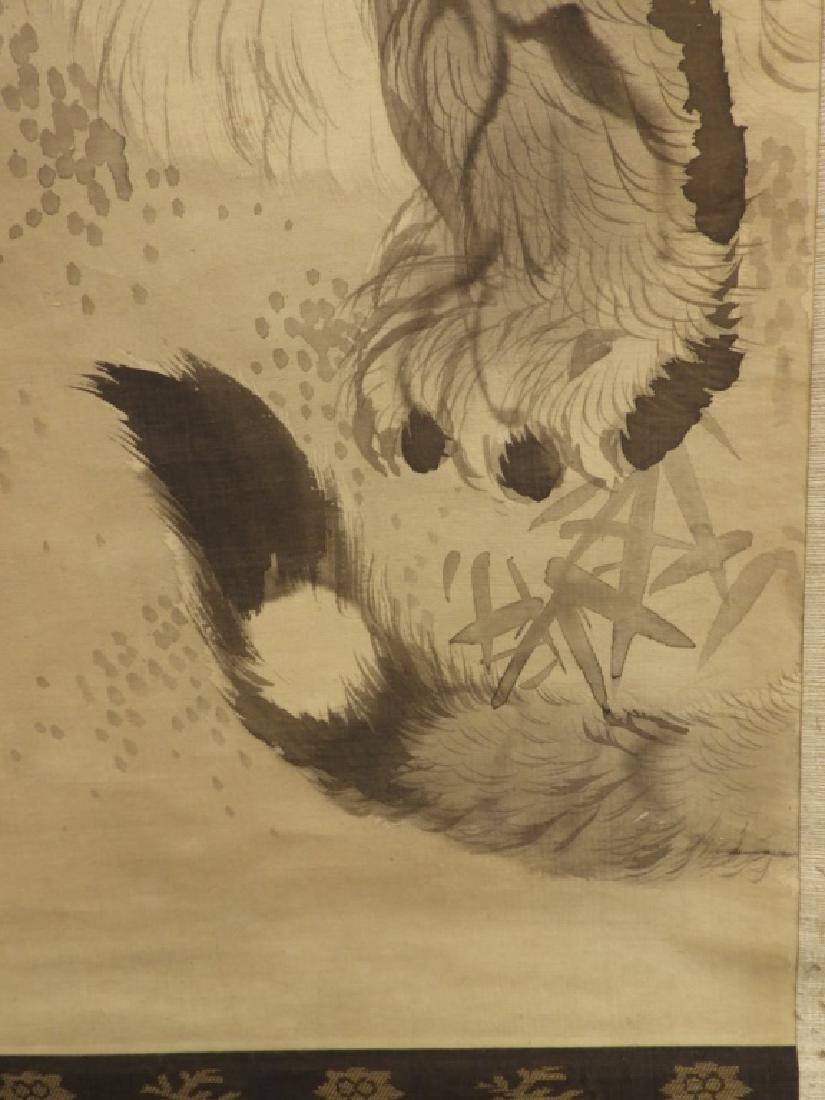 Japanese Edo Period Silk Tiger Scroll Painting - 5