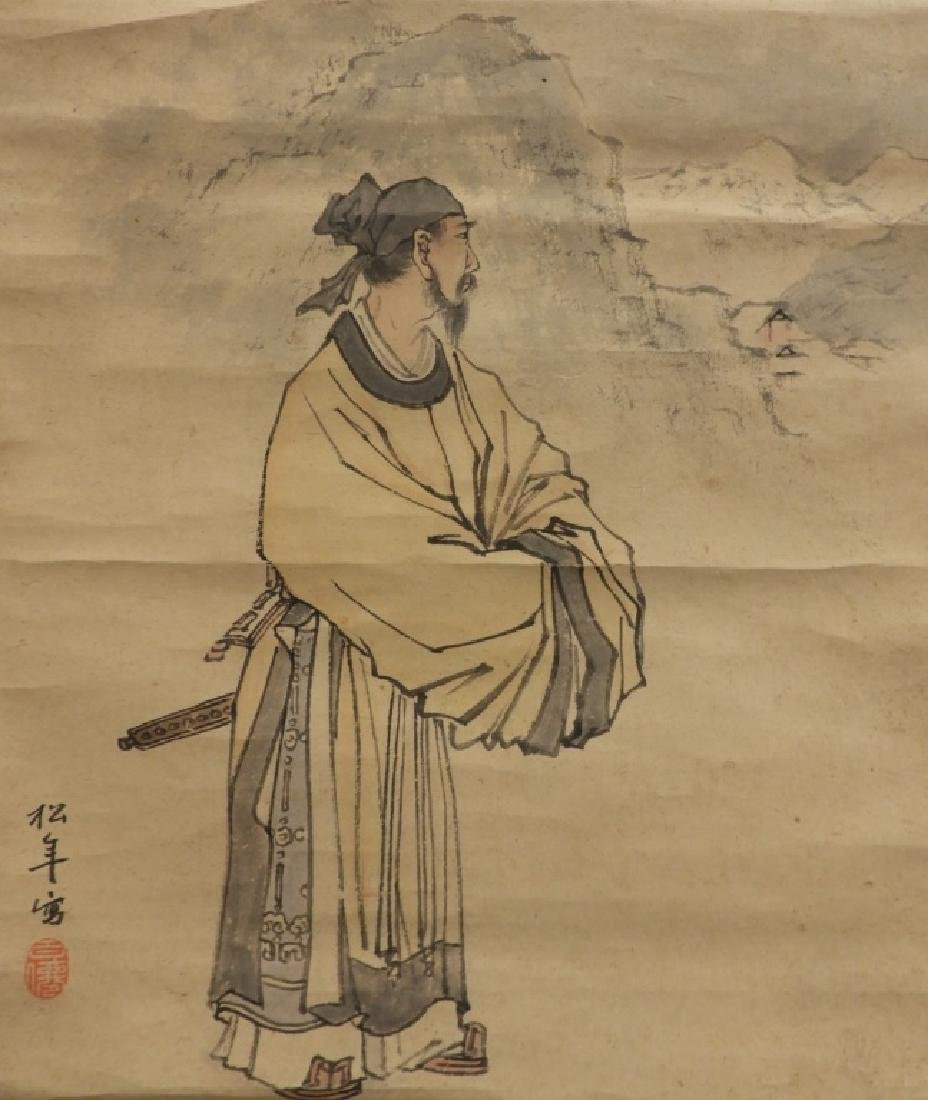 Japanese Paper Scroll Painting of a Samurai