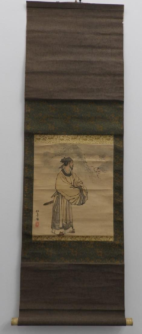 Japanese Paper Scroll Painting of a Samurai - 2