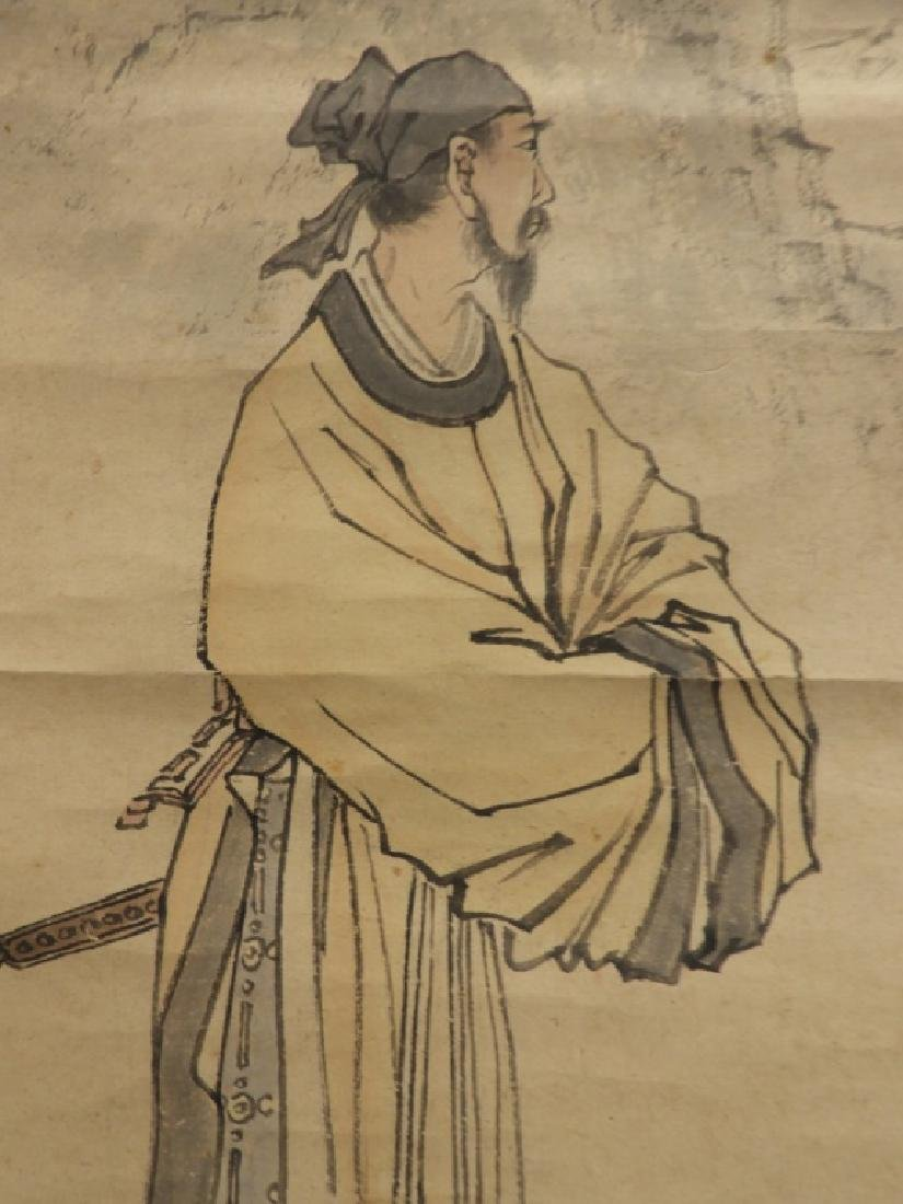 Japanese Paper Scroll Painting of a Samurai - 3