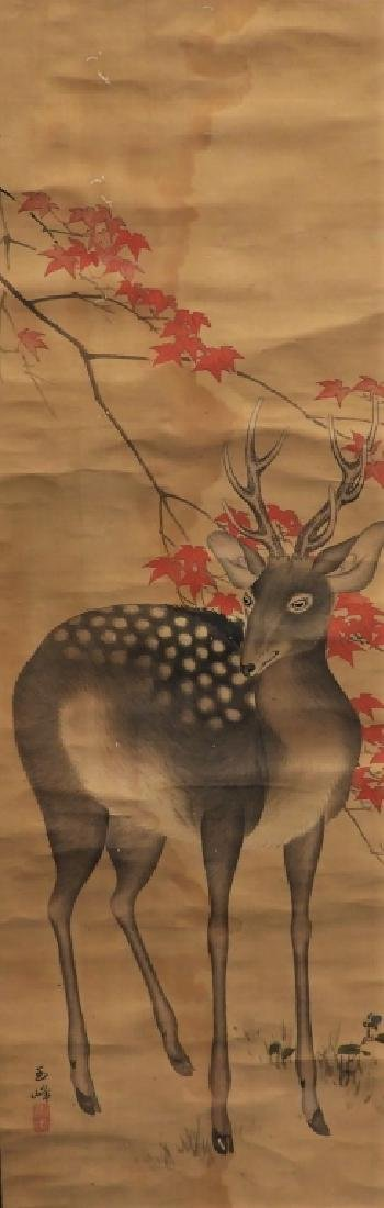 Japanese Silk Scroll Painting of a Deer