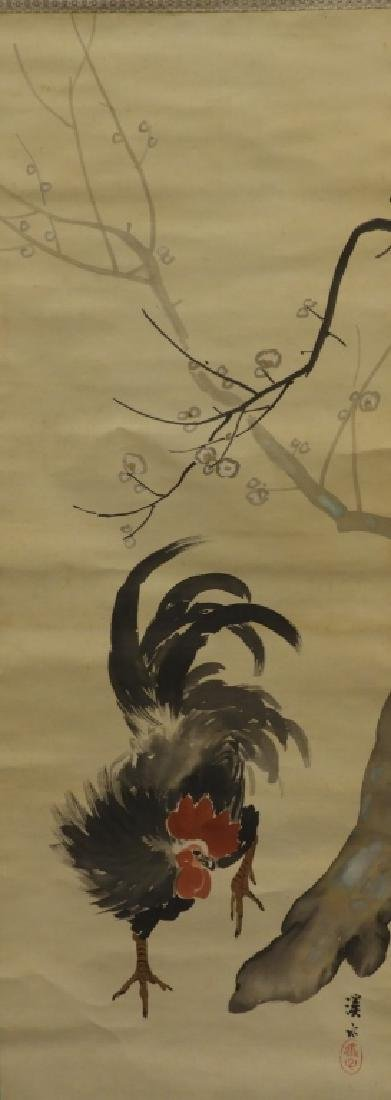 Japanese Silk Scroll Painting of a Rooster