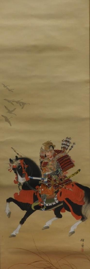 Japanese Samurai on Horseback Silk Scroll Painting