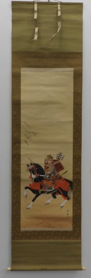 Japanese Samurai on Horseback Silk Scroll Painting - 2