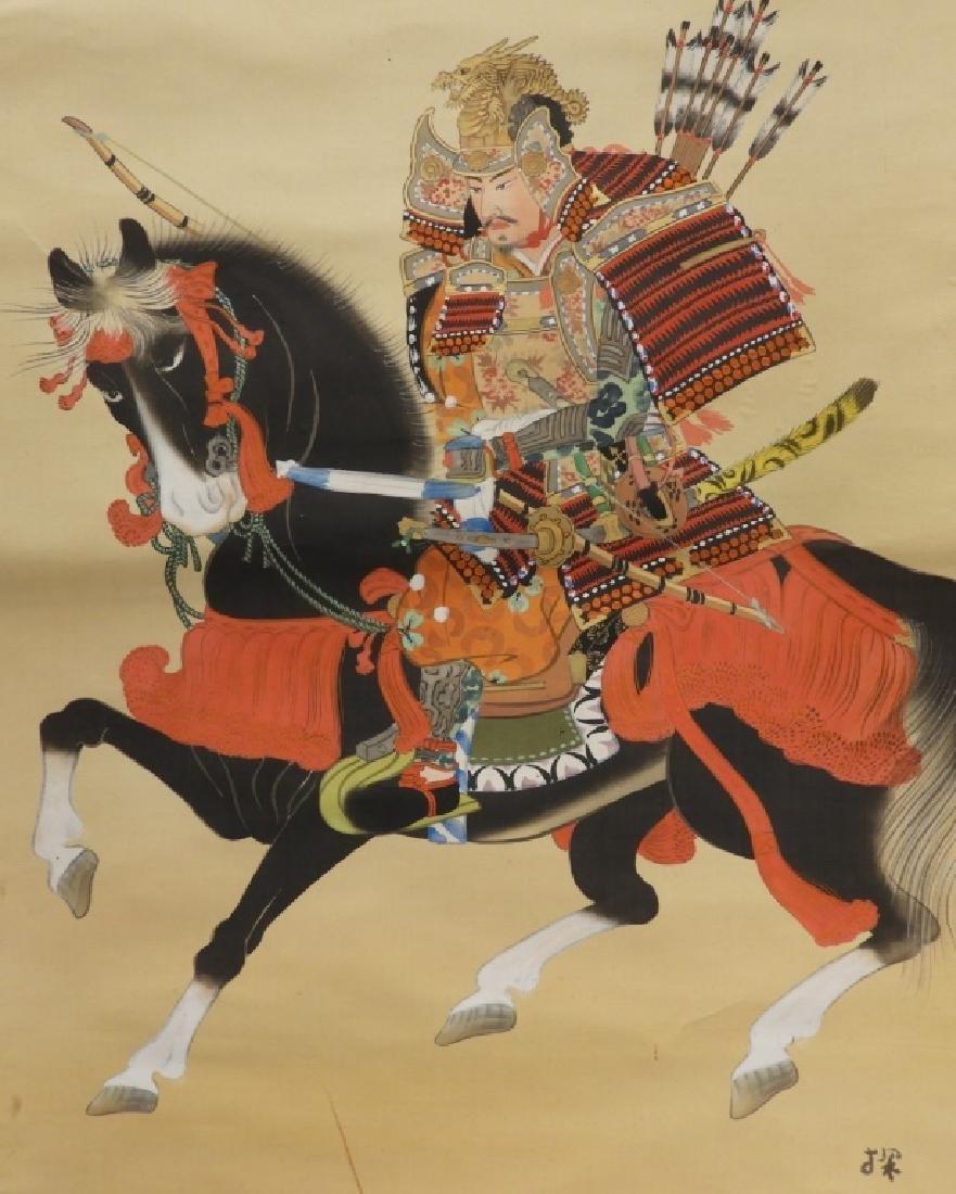 Japanese Samurai on Horseback Silk Scroll Painting - 3
