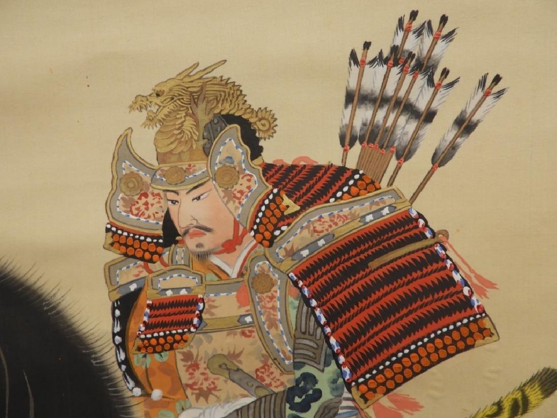 Japanese Samurai on Horseback Silk Scroll Painting - 4