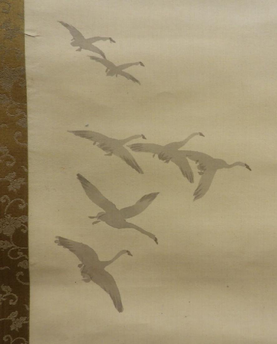 Japanese Samurai on Horseback Silk Scroll Painting - 6