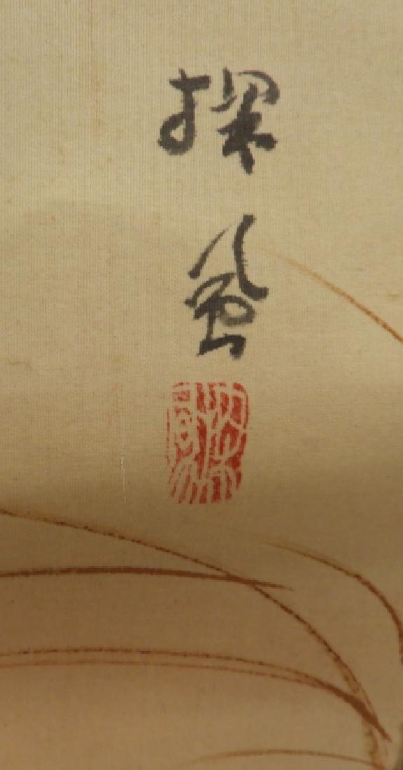 Japanese Samurai on Horseback Silk Scroll Painting - 7