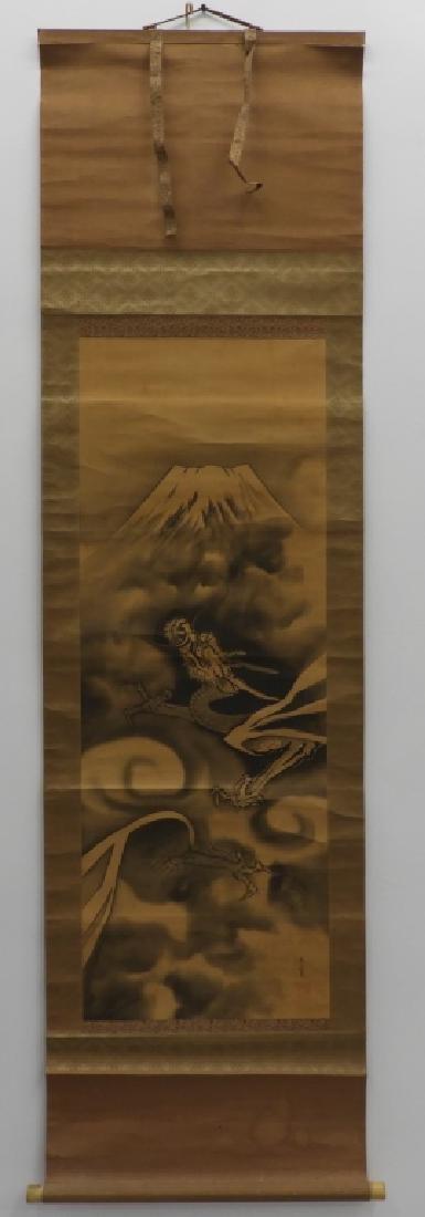 Japanese Silk Scroll Painting of Mt. Fuji & Dragon - 2