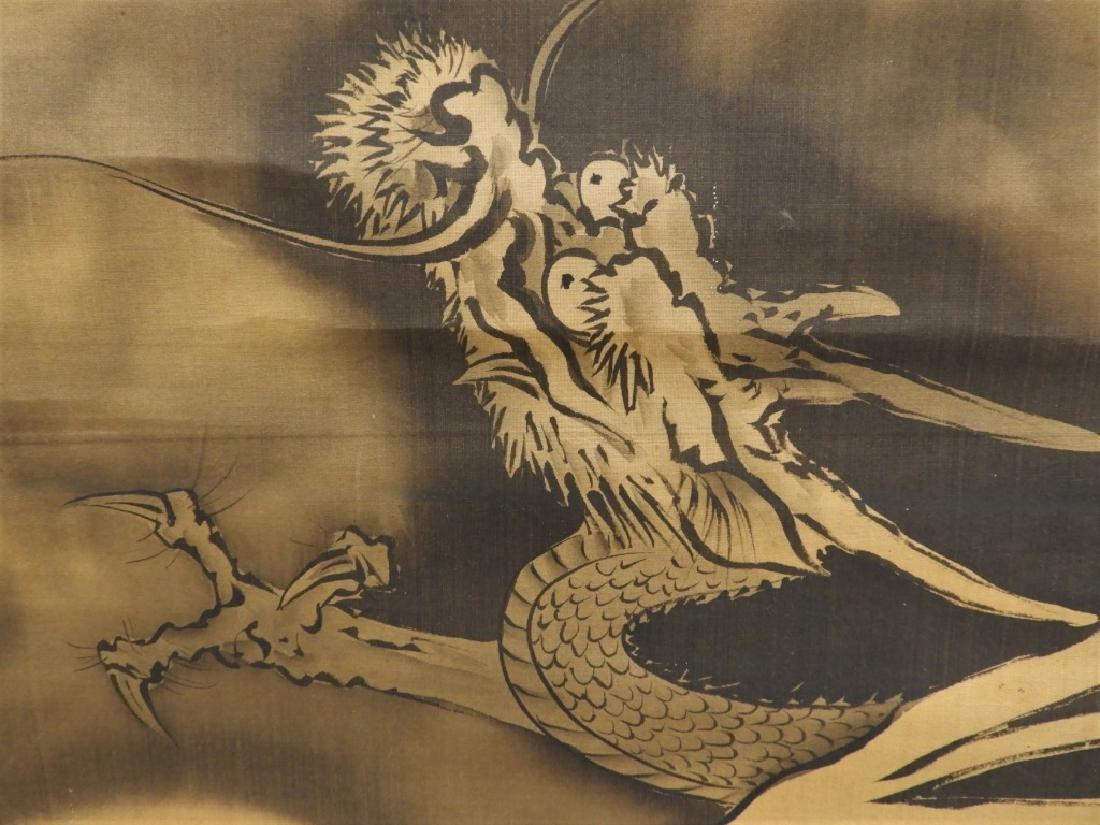 Japanese Silk Scroll Painting of Mt. Fuji & Dragon - 4
