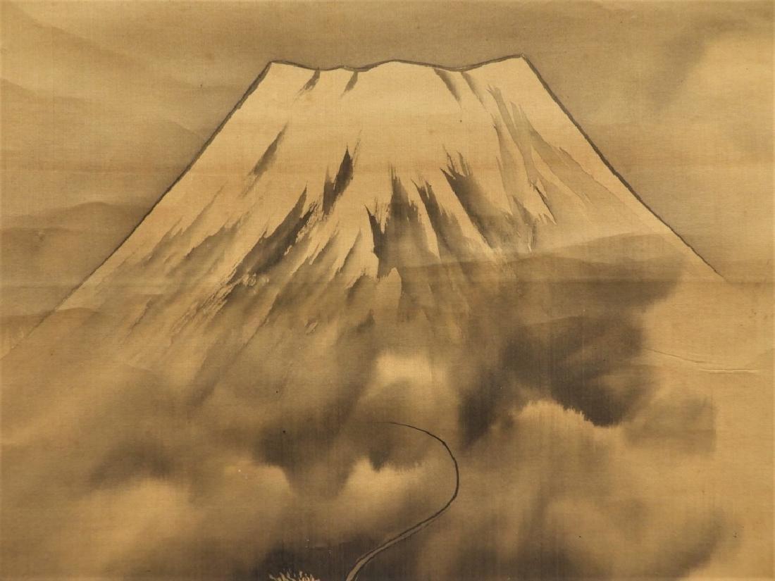 Japanese Silk Scroll Painting of Mt. Fuji & Dragon - 5