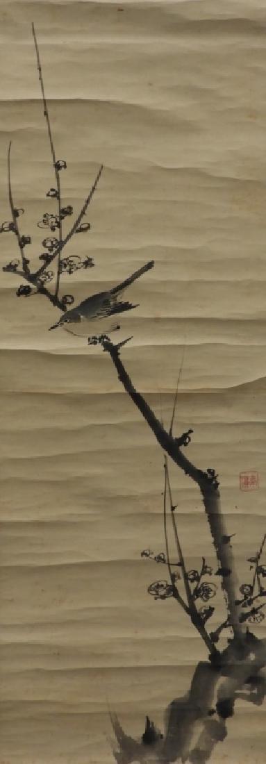 Japanese Sparrow Plum Tree Paper Scroll Painting
