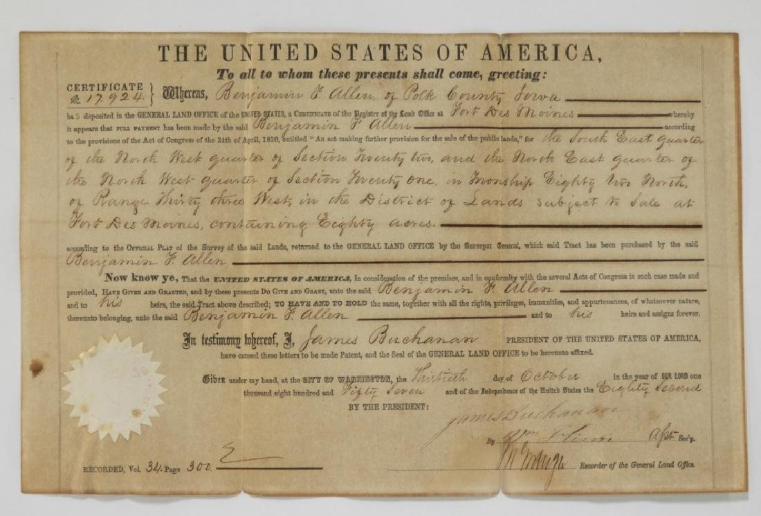 C.1857 President James Buchanan Land Deed Document