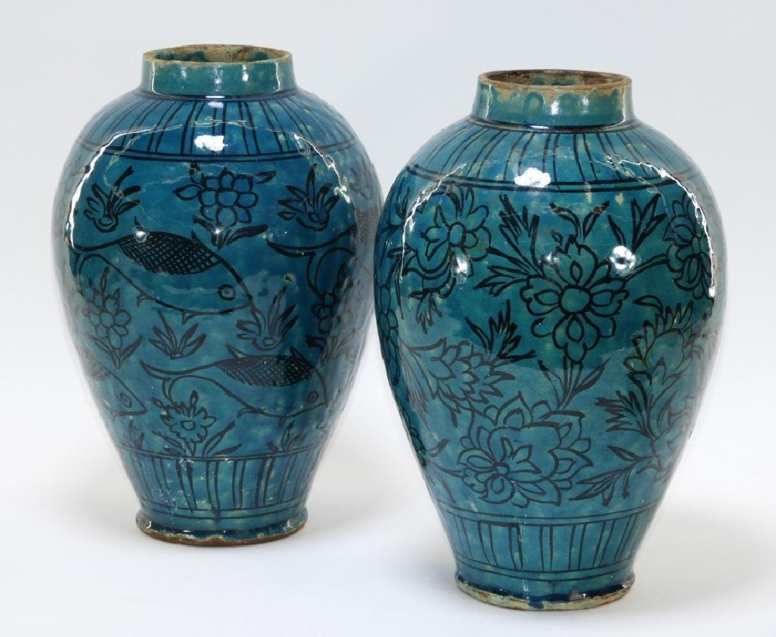 2 Persian Iznik Earthenware Turquoise Glazed Vases