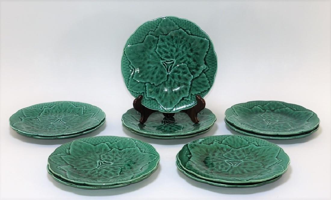 11 French Gien Majolica Pottery Grape Leaf Plates