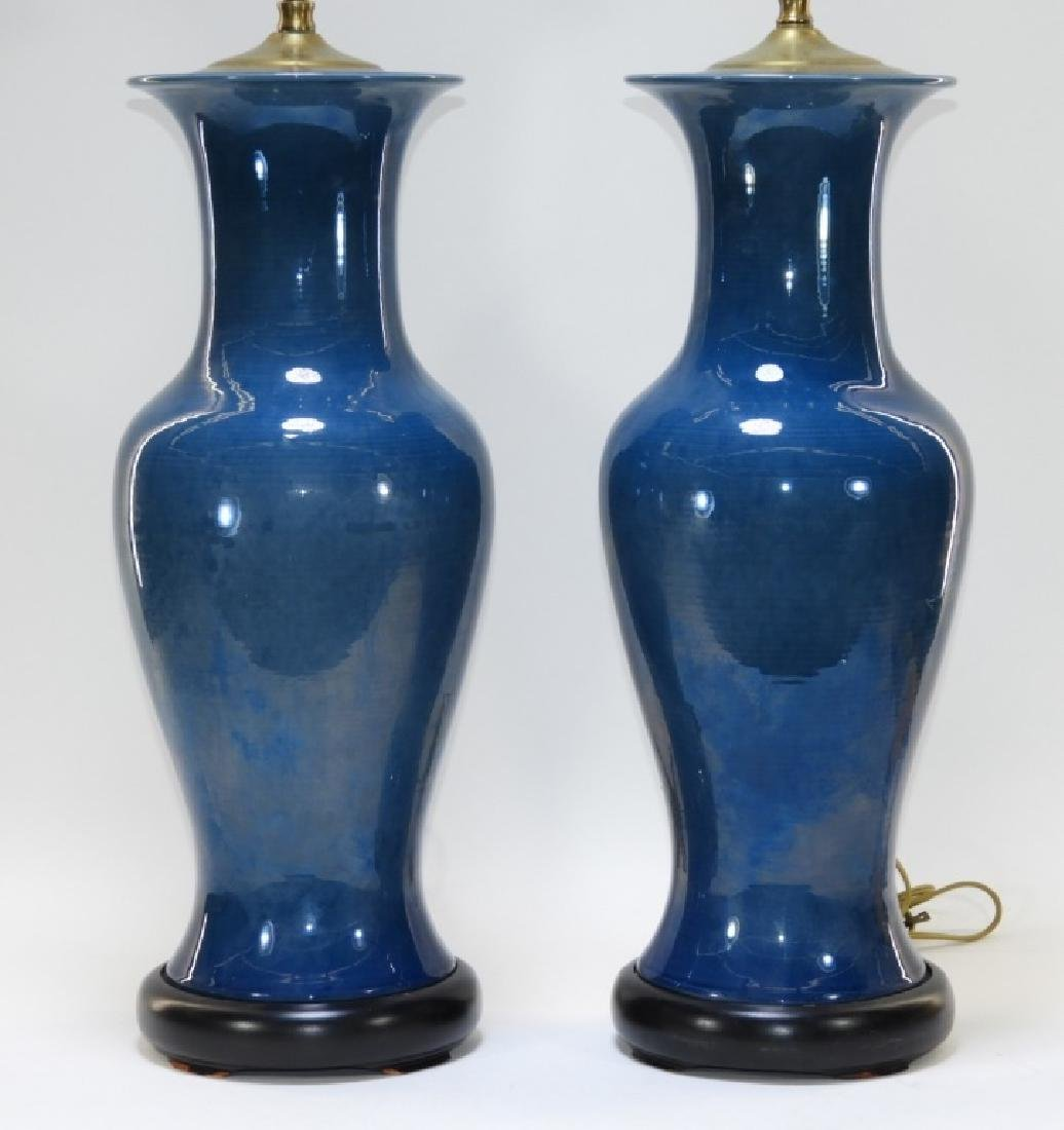PR Chinese Monochrome Blue Porcelain Vase Lamps