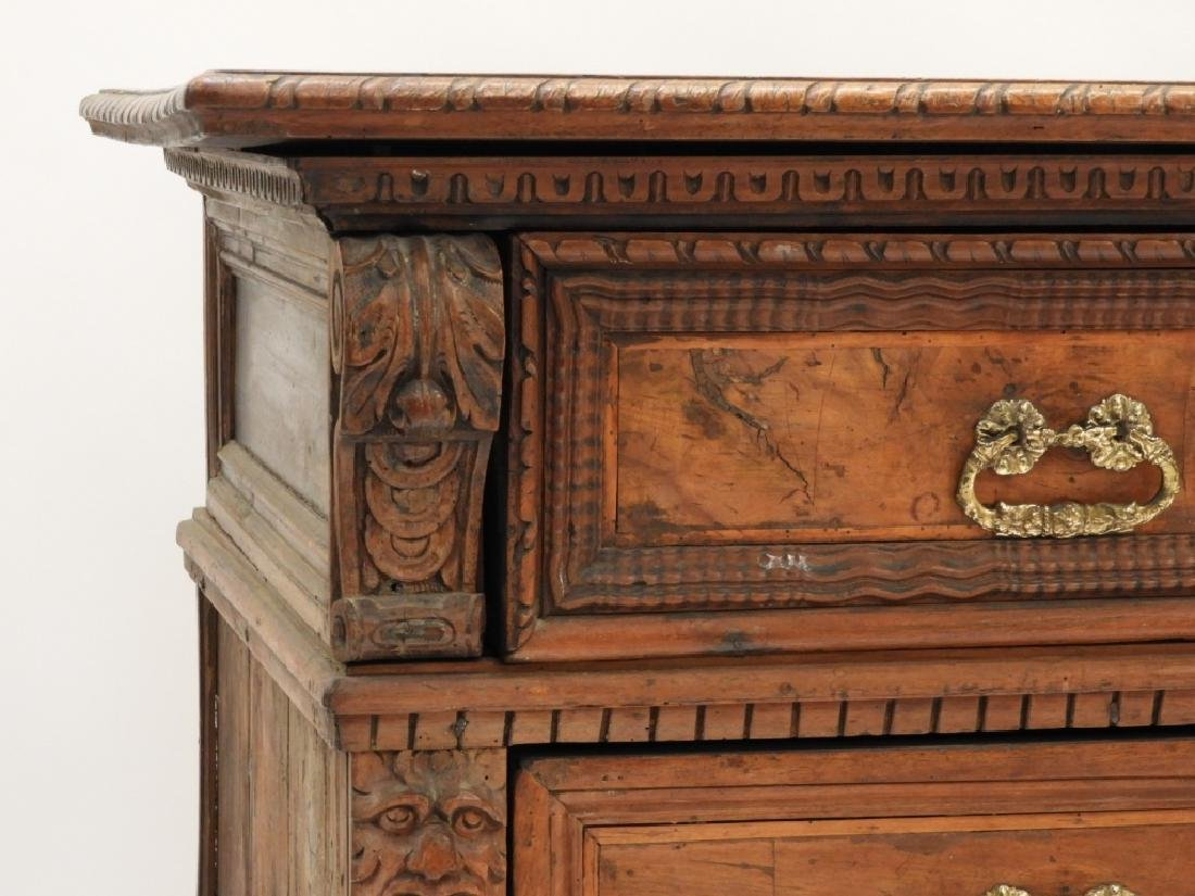 17C Italian Baroque Carved Walnut Chest of Drawers - 4