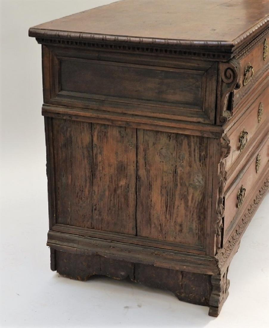 17C Italian Baroque Carved Walnut Chest of Drawers - 6