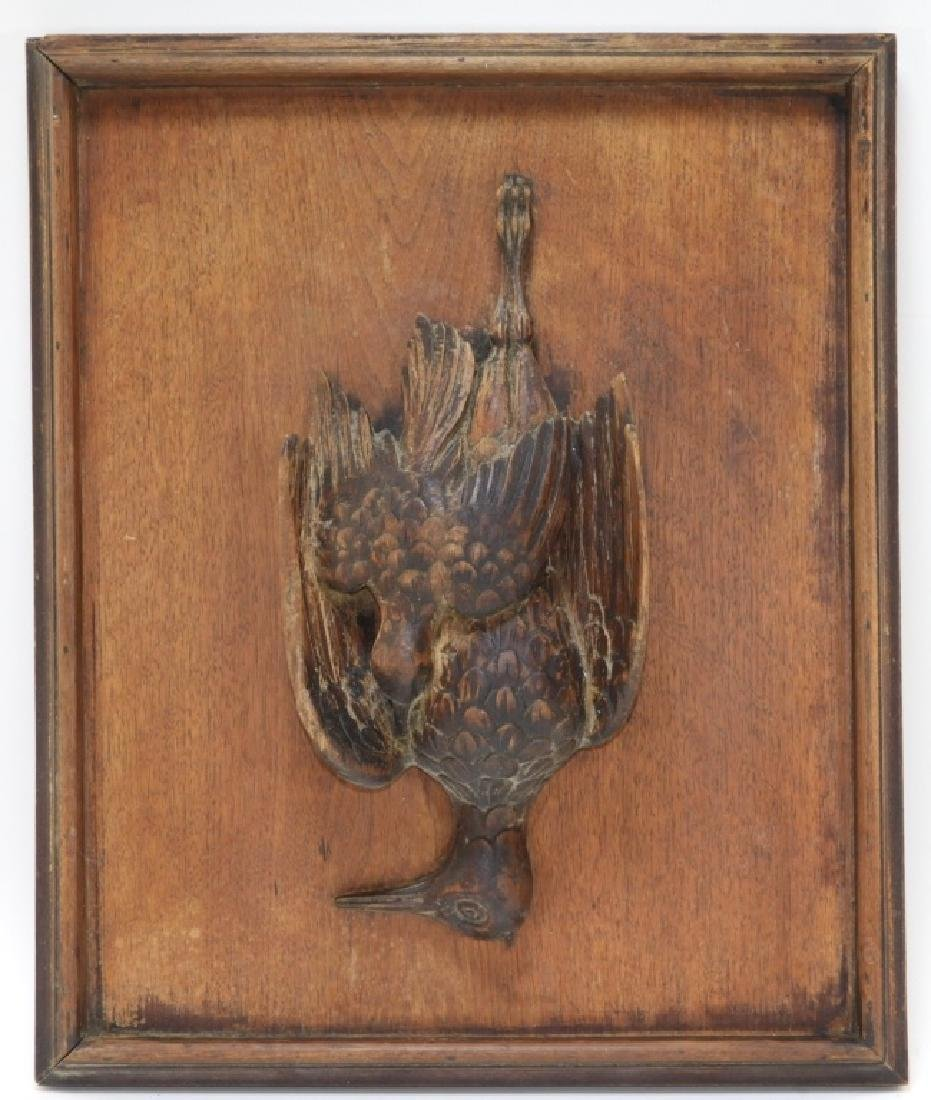 19C European Carved Game Bird Carved Hunting Board