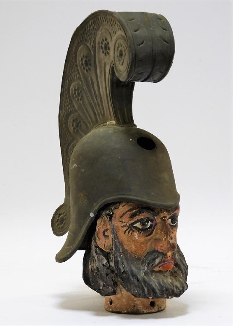 Continental Carved Polychrome Wood Bust of Soldier