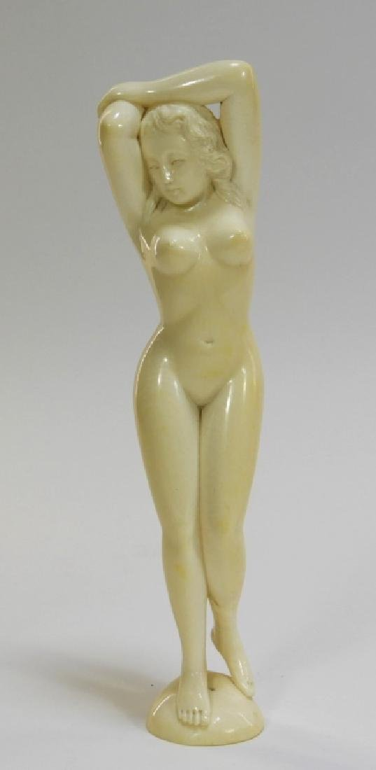 EXCEPTIONAL Japanese Carved Ivory Nude Figure