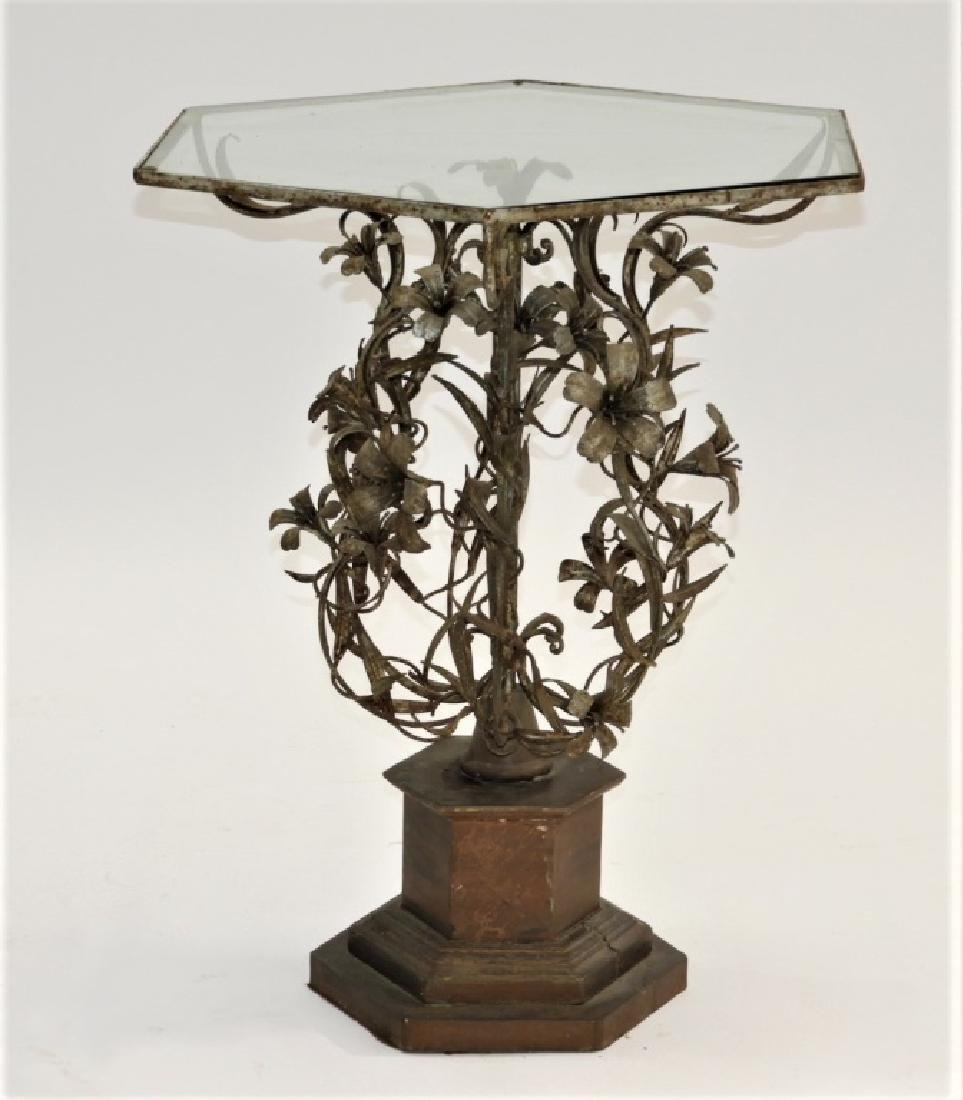 19C. Italian Wrought Iron Gilt Tole Floral Table