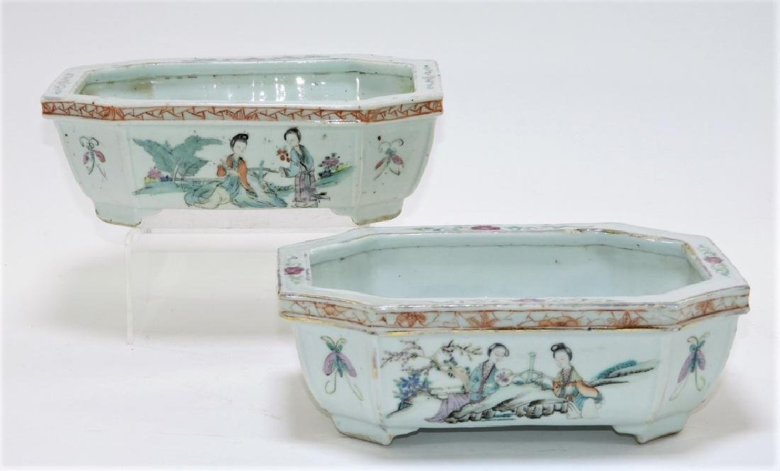 PR Chinese Export Famille Rose Porcelain Planters