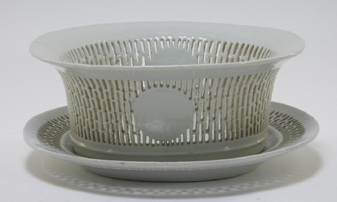 Chinese Export  Blanc De Chine Reticulated Basket