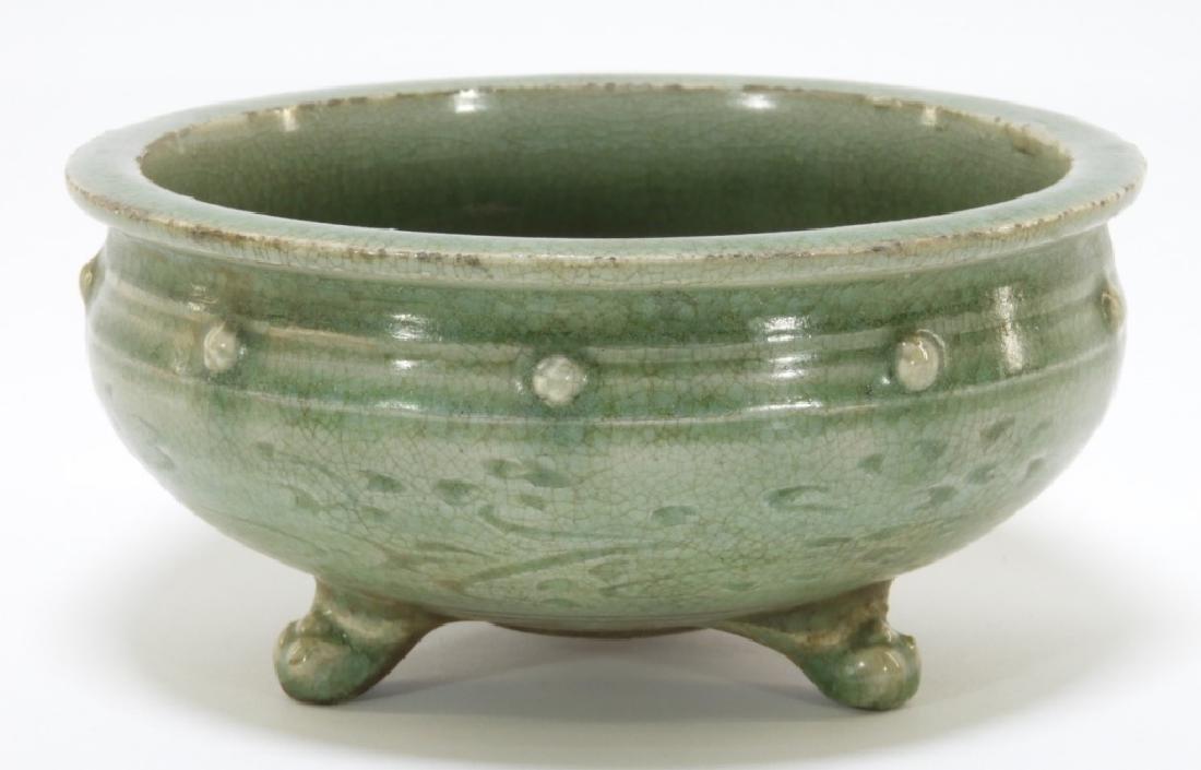 Chinese Min Longquan Celadon Porcelain Tripod Bowl