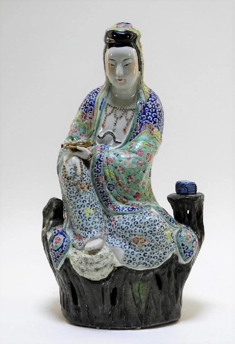 Chinese Porcelain Famille Rose Seated Guanyin