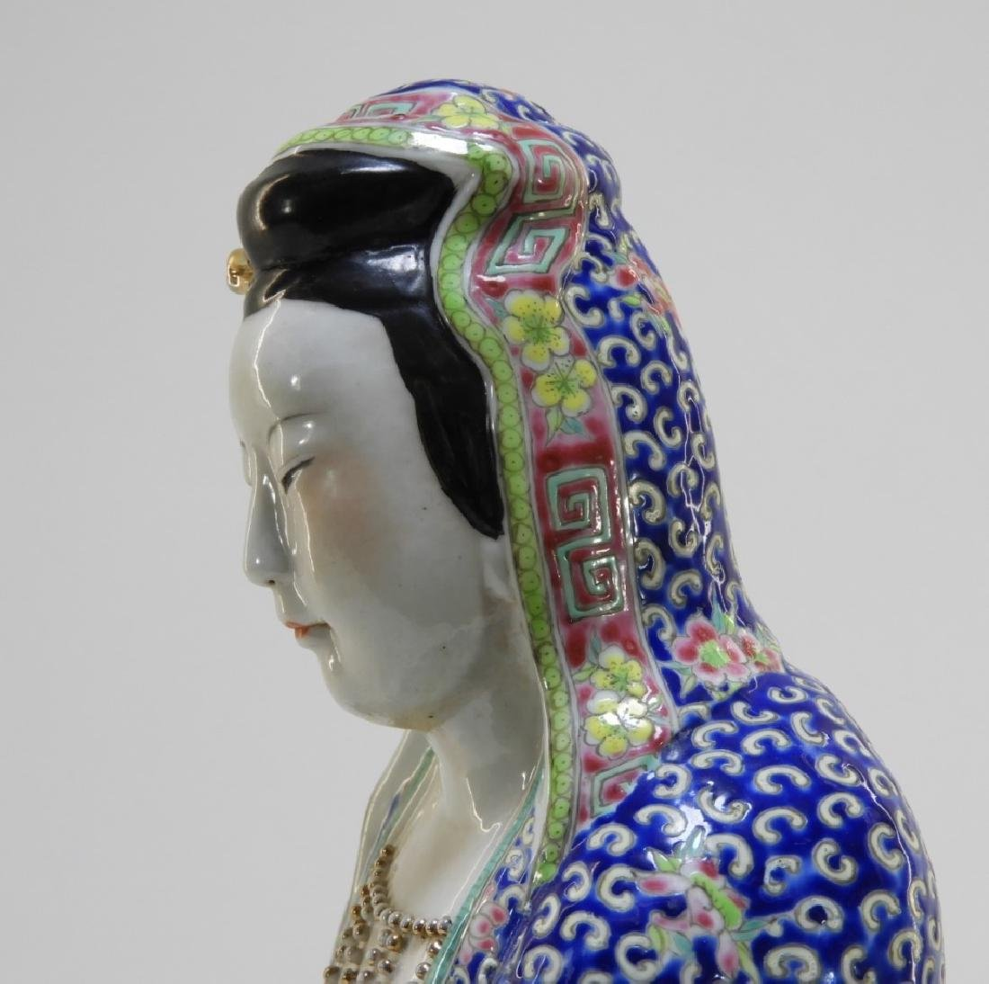 Chinese Porcelain Famille Rose Seated Guanyin - 5