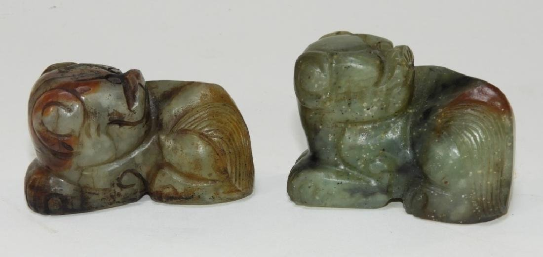 PR Chinese Carved Jade Foo Dog Scroll Weights