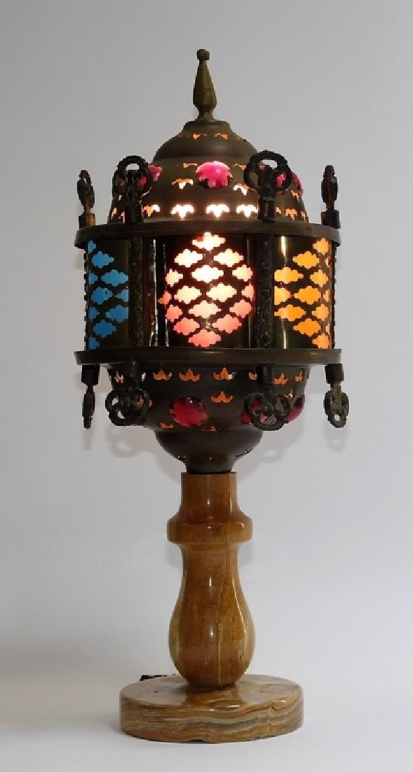 Moorish Brass & Onyx Jeweled Table Lamp