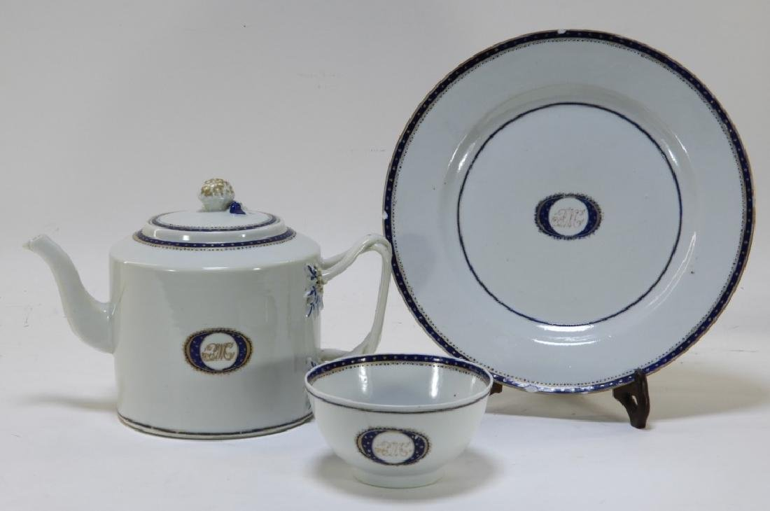 3PC Chinese Export Porcelain Armorial Tea Service